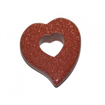 Goldfluss 30 mm 1 Anhänger Herz in Herz