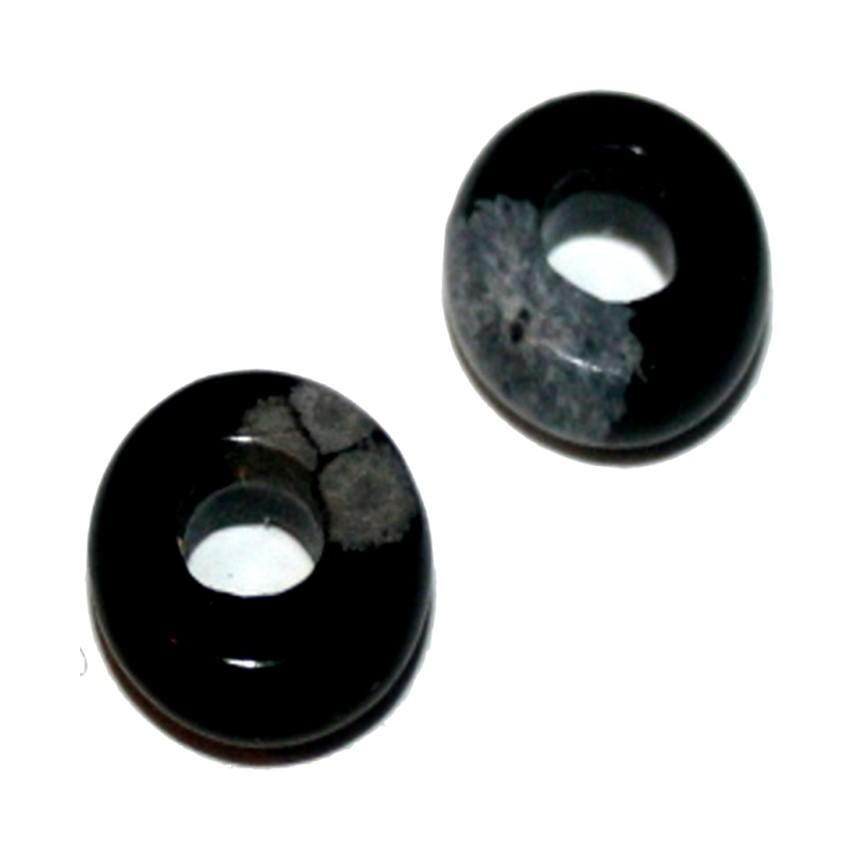 Schneeflockenobsidian 2 Donut ca 12 mm`` Mineralien Fossilien Stein Schmuck